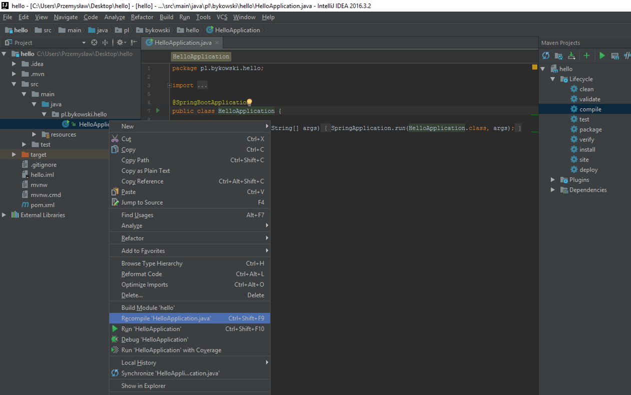 Uruchomienie aplikacji Spring Boot w IntelliJ