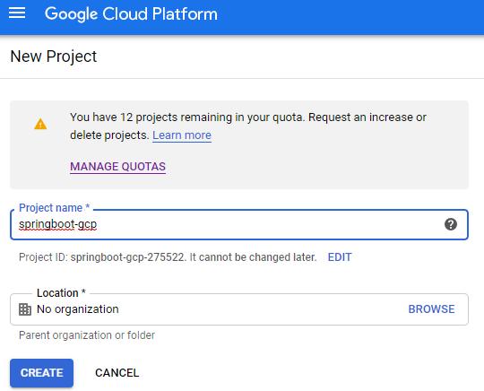 Google Cloud Platform - ekran zakładania nowego projektu.