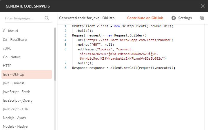 Generowanie kodu przez narzędzie Postman w celu zbudowania własnego REST clienta